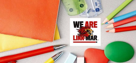 Folders - pens - rules - colored pencils - We Are Linn Mar logo