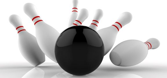 Bowling strike ball and pins
