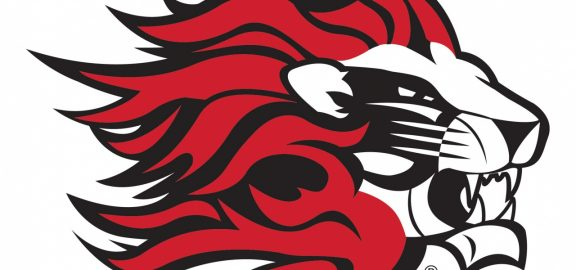 Linn-Mar Lion Logo - Black and Red