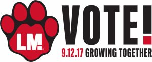 Linn-Mar Bond Referendum - Paw logo with Vote 9.12.17 Growing Together text