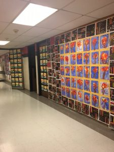 Artwork lines the hallways at Wilkins Elementary School's Art Night