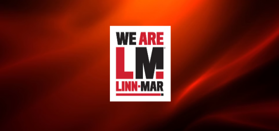 We are Linn-Mar stacked with red background