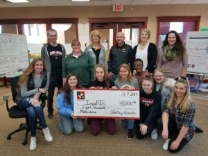Iowa BIG is presented a check for $8000 by the Linn-Mar Foundation