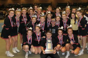 2017 Linn-Mar Competition Cheer Sqad and second place trophy